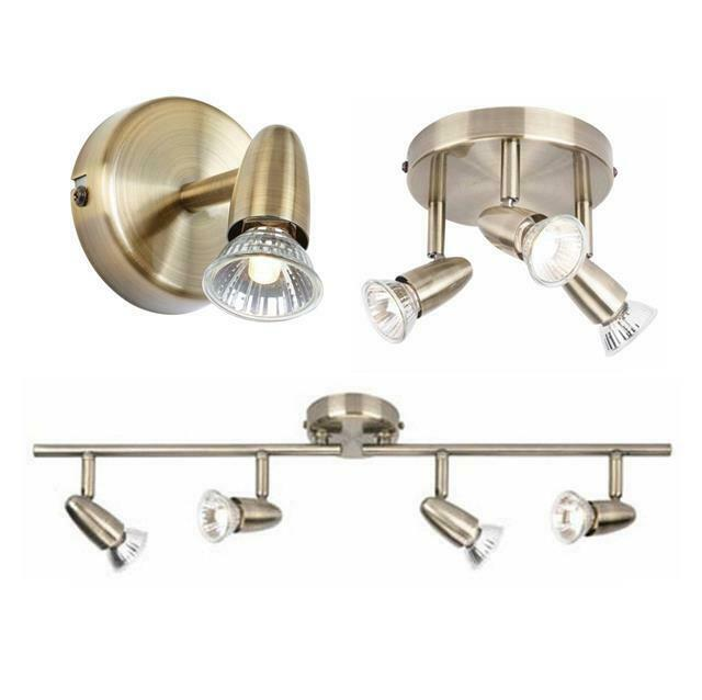 Led Ceiling Lights Antique Brass : Way antique brass led ceiling spotlight bar light