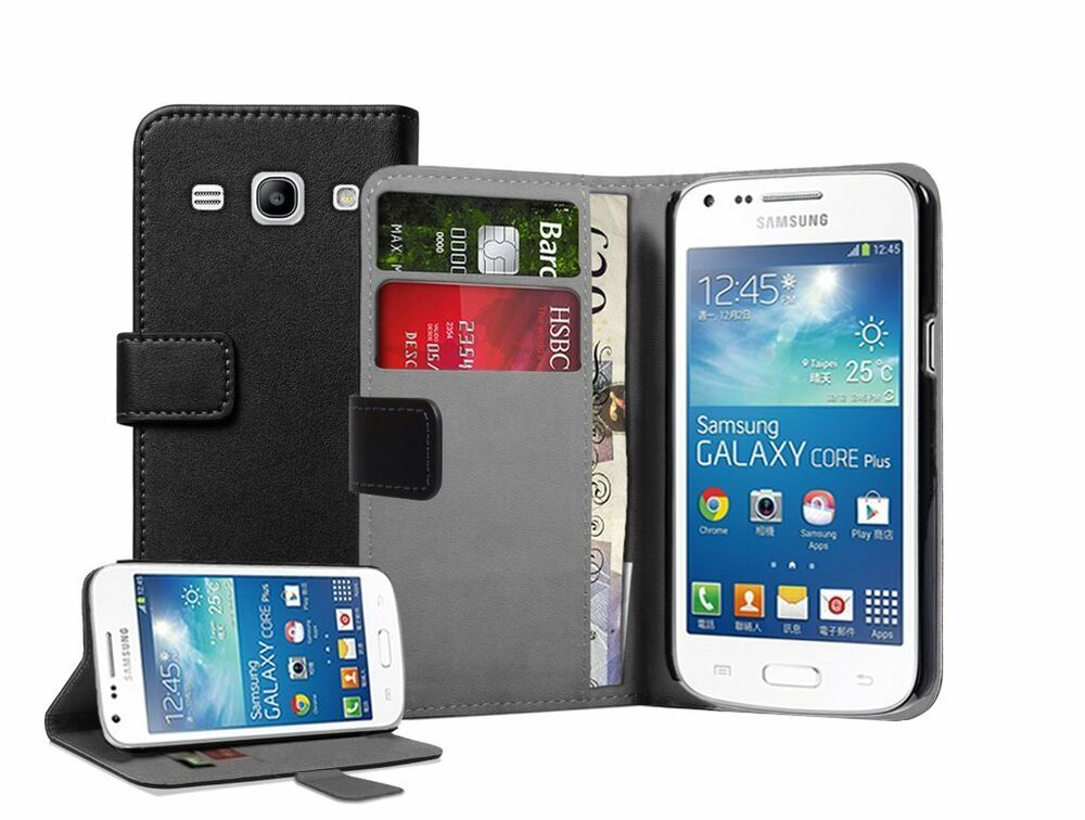 wallet black leather case cover for samsung galaxy core plus sm g350 g3502 ebay. Black Bedroom Furniture Sets. Home Design Ideas