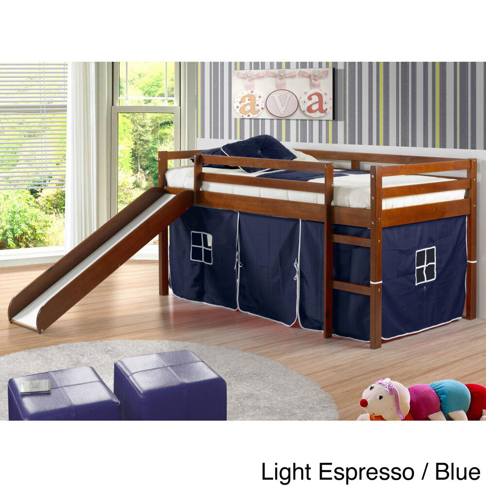 Donco Kids Twin Size Tent Loft Bed With Slide Ebay