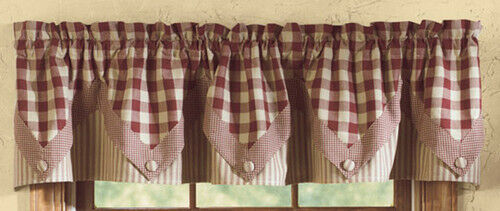 Country Primitive York Wine Pointed Valance Buffalo Check