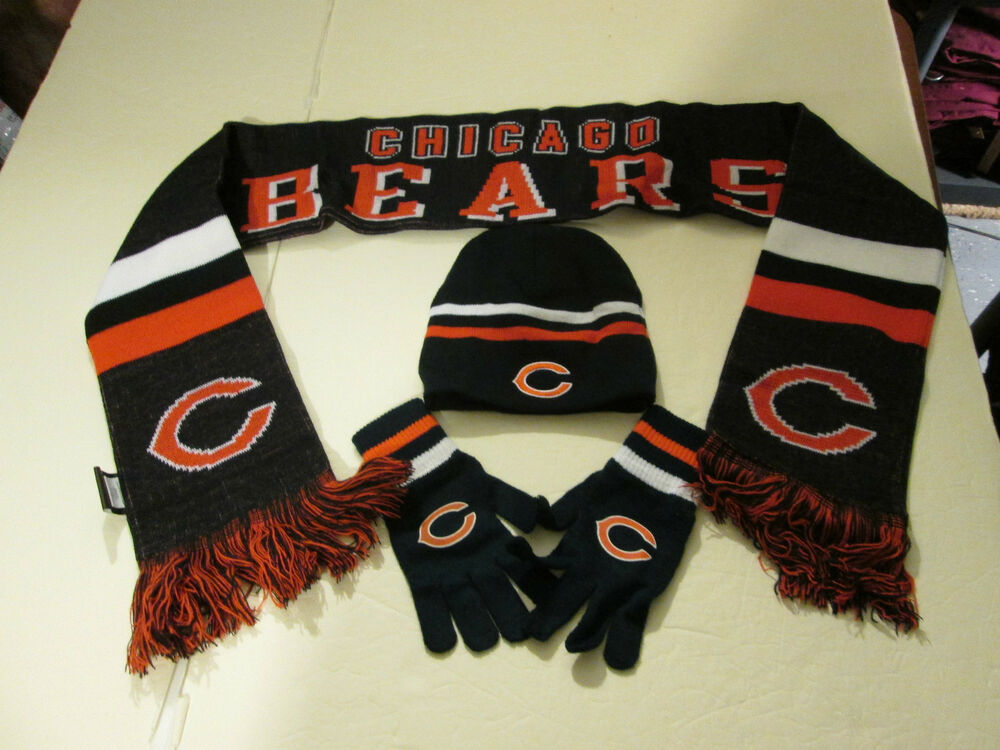 chicago bears youth size stocking cap winter scarf and. Black Bedroom Furniture Sets. Home Design Ideas