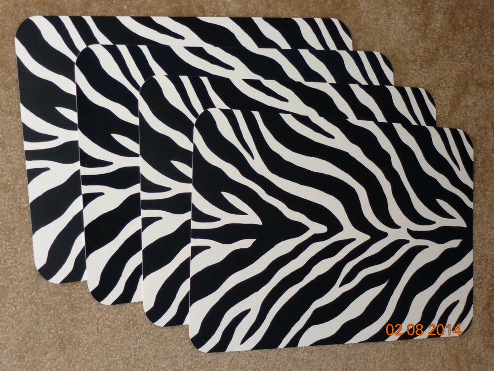 Set Of 4 Zebra Print Place Mats 17 Quot Black White Placemat