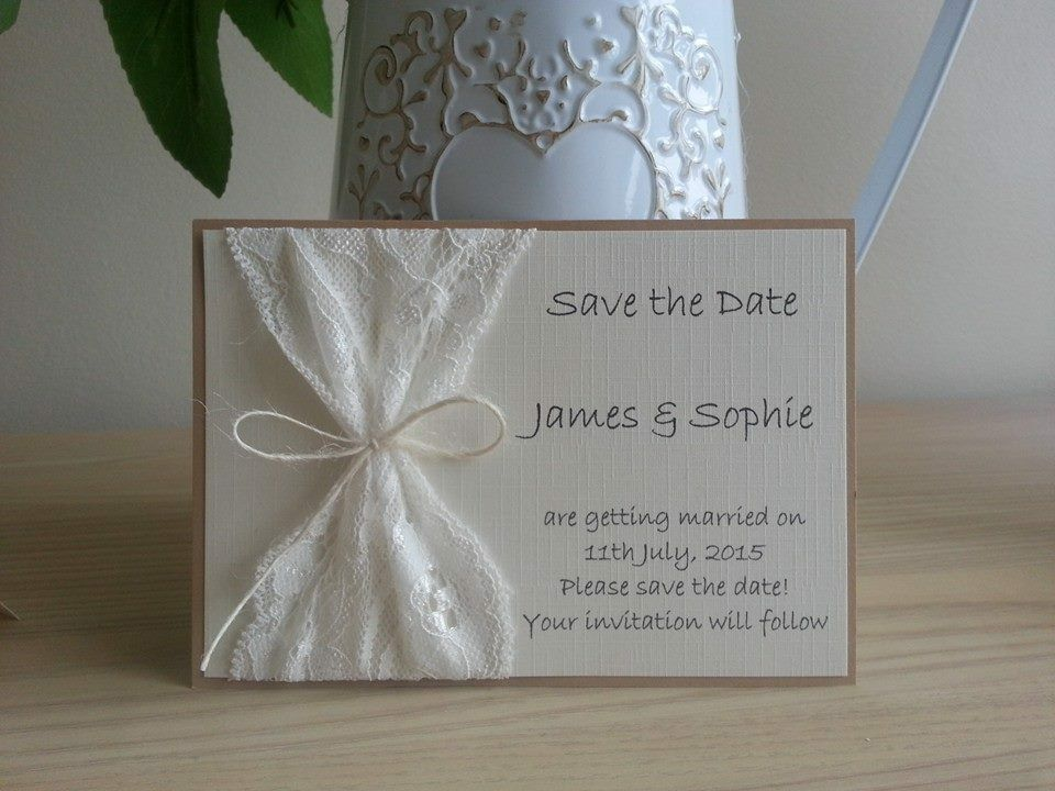 10 X Handmade Vintage Lace Save The Date Cards Wedding