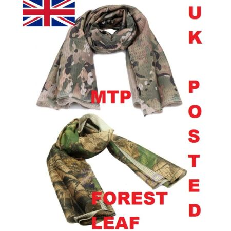 img-SCRIM NET SCARF =HUNTING SHOOTING PAINTBALL FOREST LEAF CAMO or MTP MULTICAM DPM