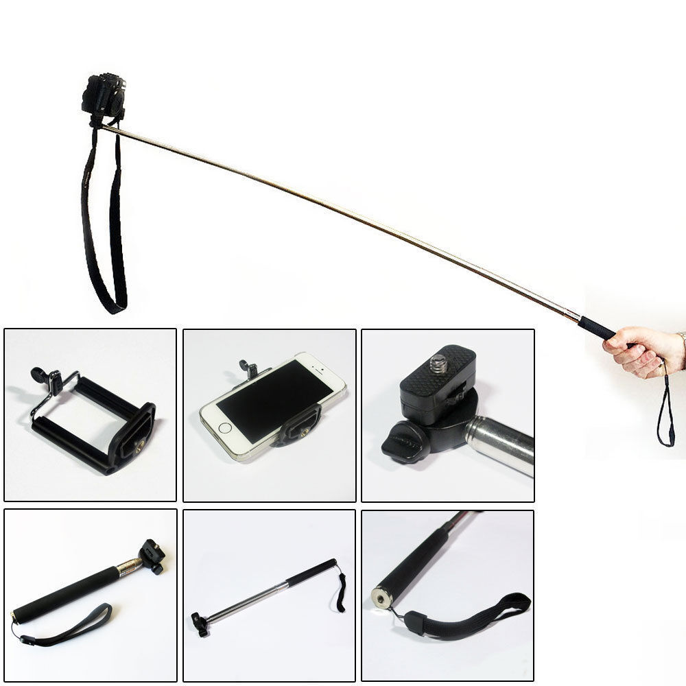 monopod selfie stick telescopic mobile smart phone iphone camera handle holder ebay. Black Bedroom Furniture Sets. Home Design Ideas