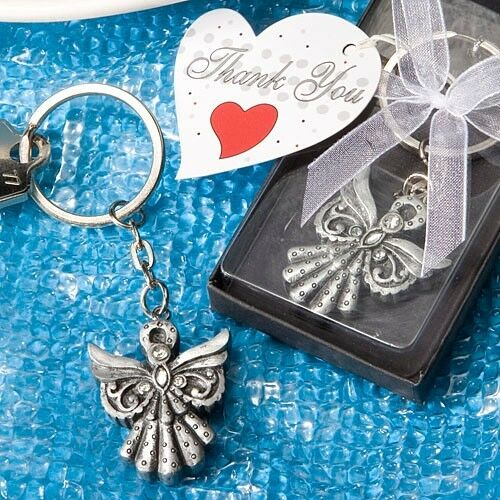 28 Angel Key Chain Favors Baptism Communion Christening Wedding Favors