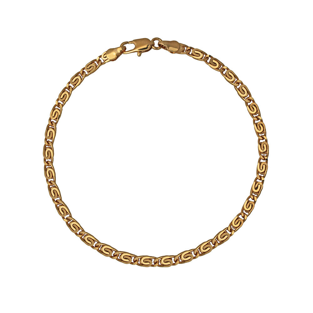 18K Gold Plated 4 Mm Scroll Chain Anklet / Ankle Bracelet ...
