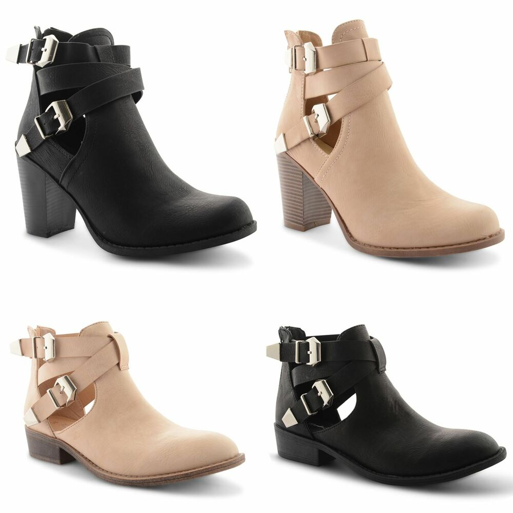 black faux leather chunky block heel chelsea ankle
