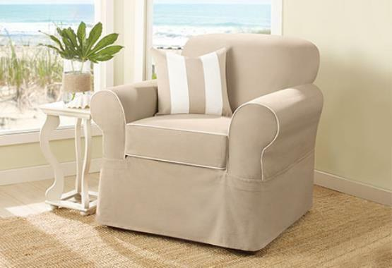 Sure Fit Spectator Canvas Separate Seat Tan Slipcover