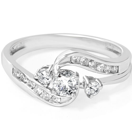 1 2ct twist diamond engagement wedding ring set 14k white for Ebay diamond wedding ring sets