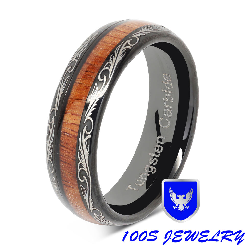 Womens Black Wedding Bands: 6mm Womens Tungsten Ring Wood Inlay Black Wedding Band
