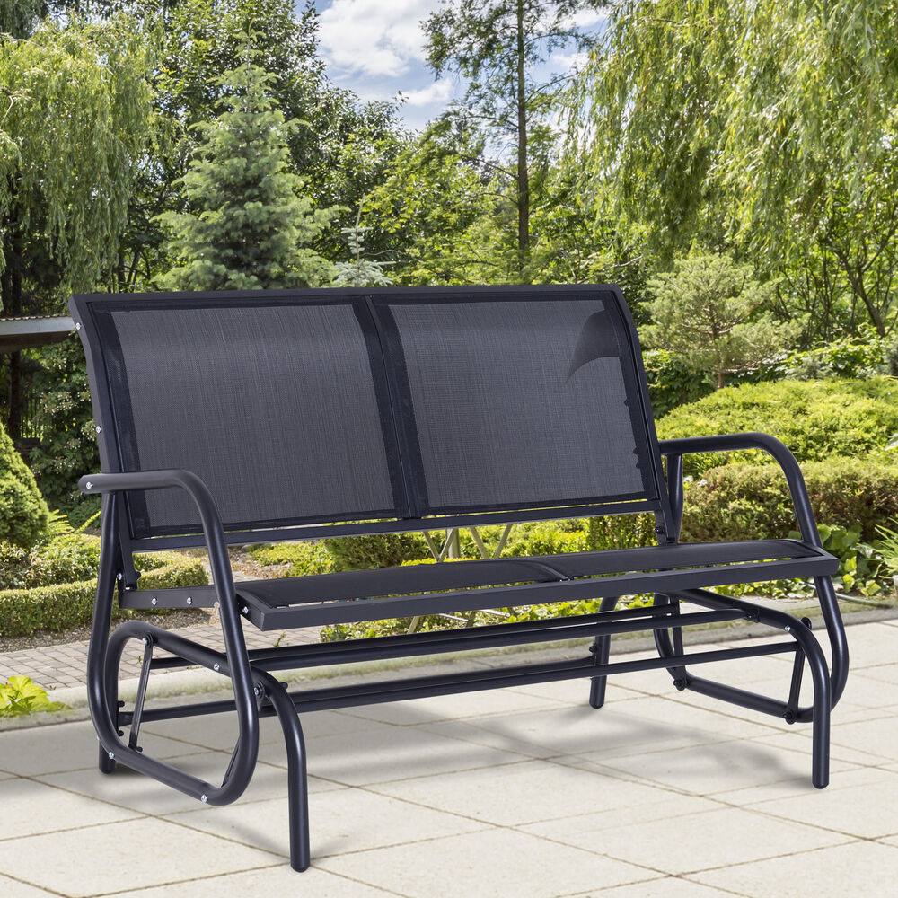 Outsunny Patio Double 2 Person Glider Bench Rocker Porch Love Seat Swing Chai