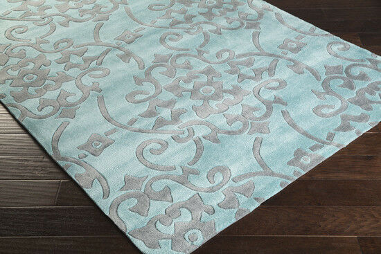 5x8 Designer Plush Contemporary Modern Aqua Blue Gray Area