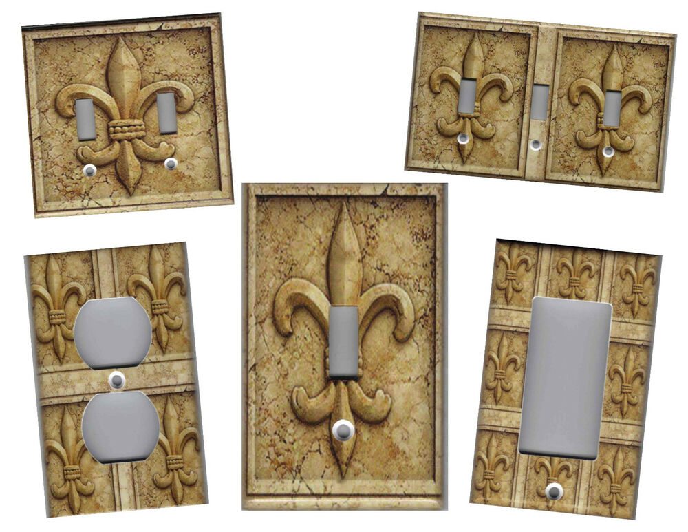 Fleur de lis stone print home decor light switch plate ebay for Fleur de lis home decorations