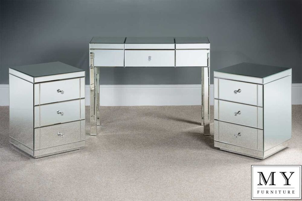 Mirrored Dressing Table Console And 2 X 3 Drawer Mirrored