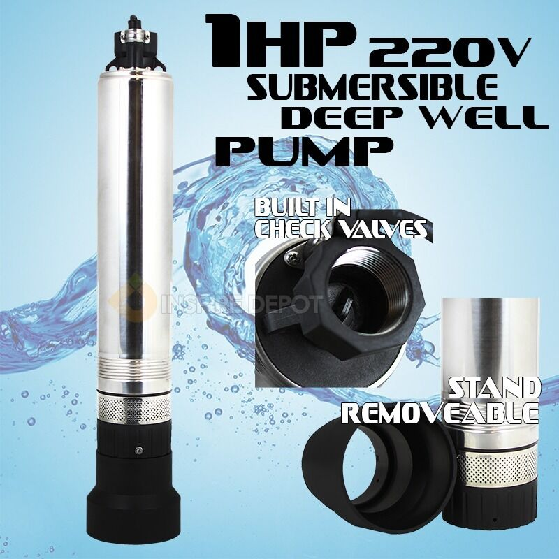 """4"""" 1HP Stainless Submersible Pump Deep Well Bore Sump 220V"""
