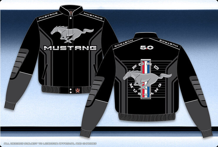 ford mustang jacket black twill pony gray embroidered logo. Black Bedroom Furniture Sets. Home Design Ideas