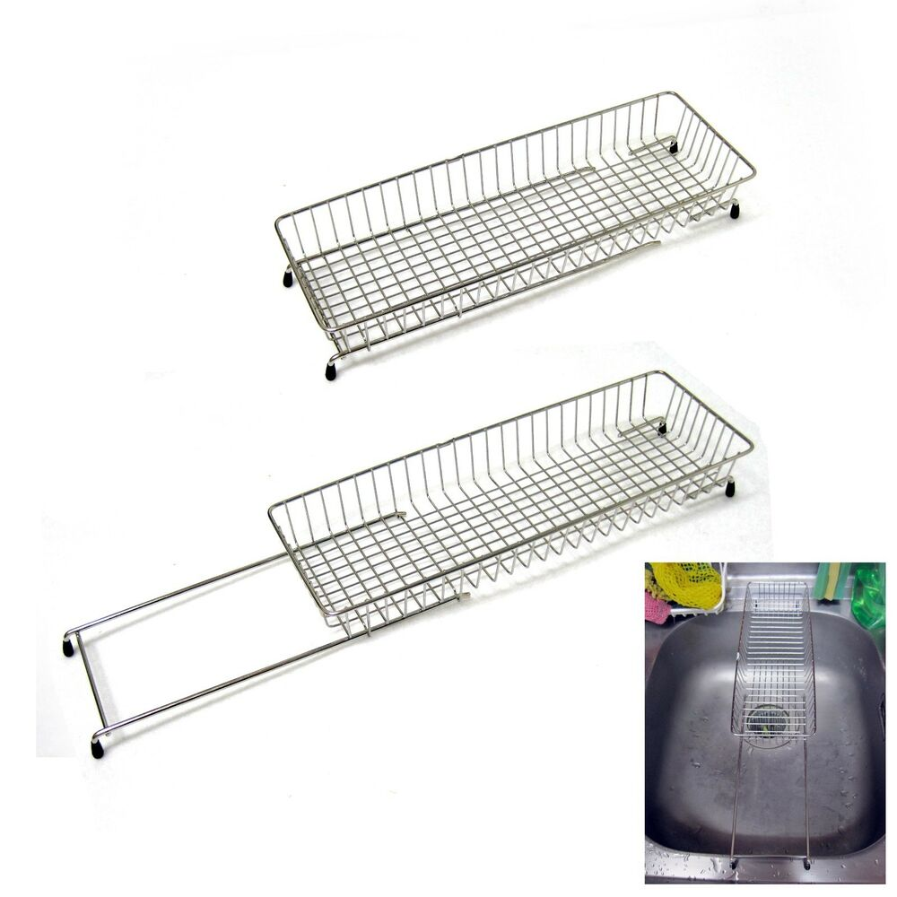 Extendable stainless wire drying rack steel net sink holder kitchen drainer new ebay - Kitchen sink drying rack ...