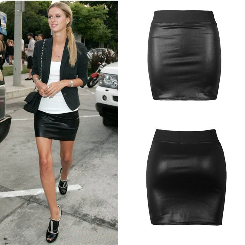 womens lady sexy club faux leather bodycon mini short skirt tight skinny skirts ebay. Black Bedroom Furniture Sets. Home Design Ideas