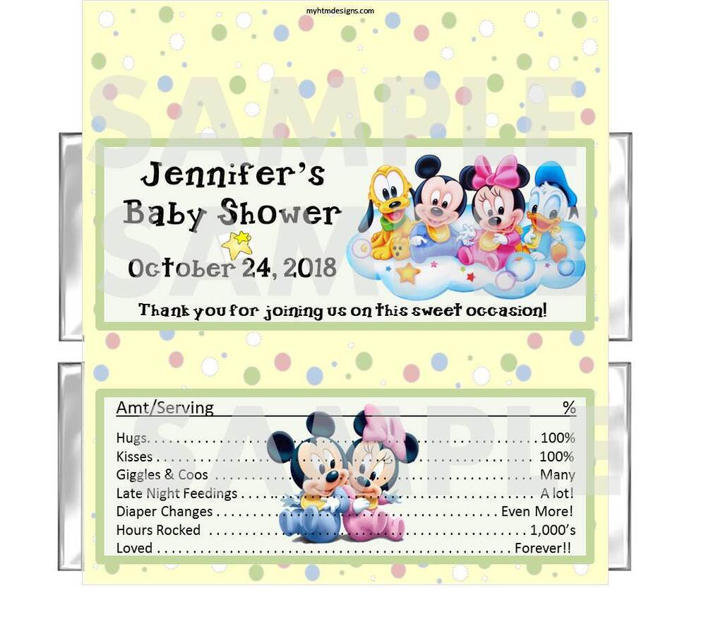 DISNEY BABIES BABY SHOWER candy bar wrappers Personalized ...