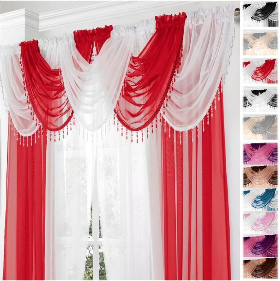 Gemma Beaded Sparkle Round Voile Curtain Amp Swag 9 Piece