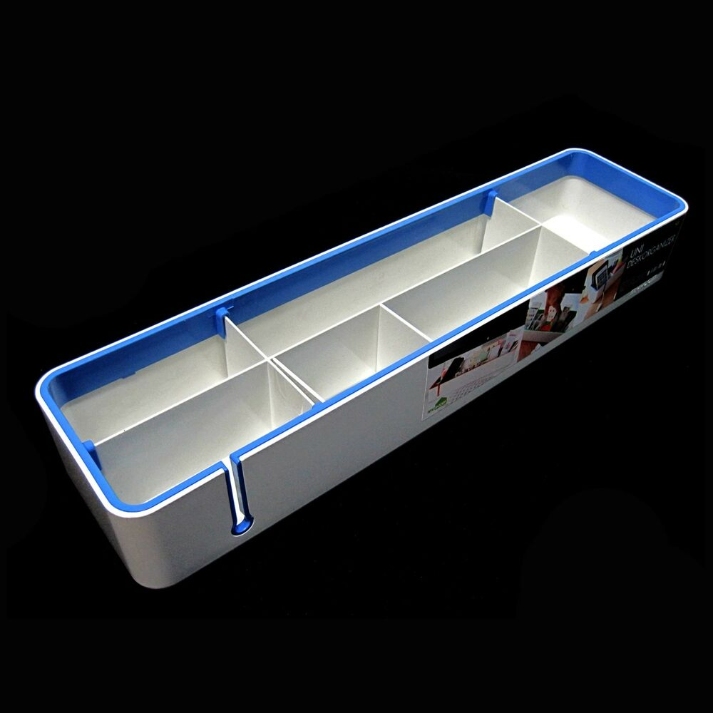 Desktop organizer box desk storage holder stationery organizing holder blue ebay - Desk stationery organiser ...