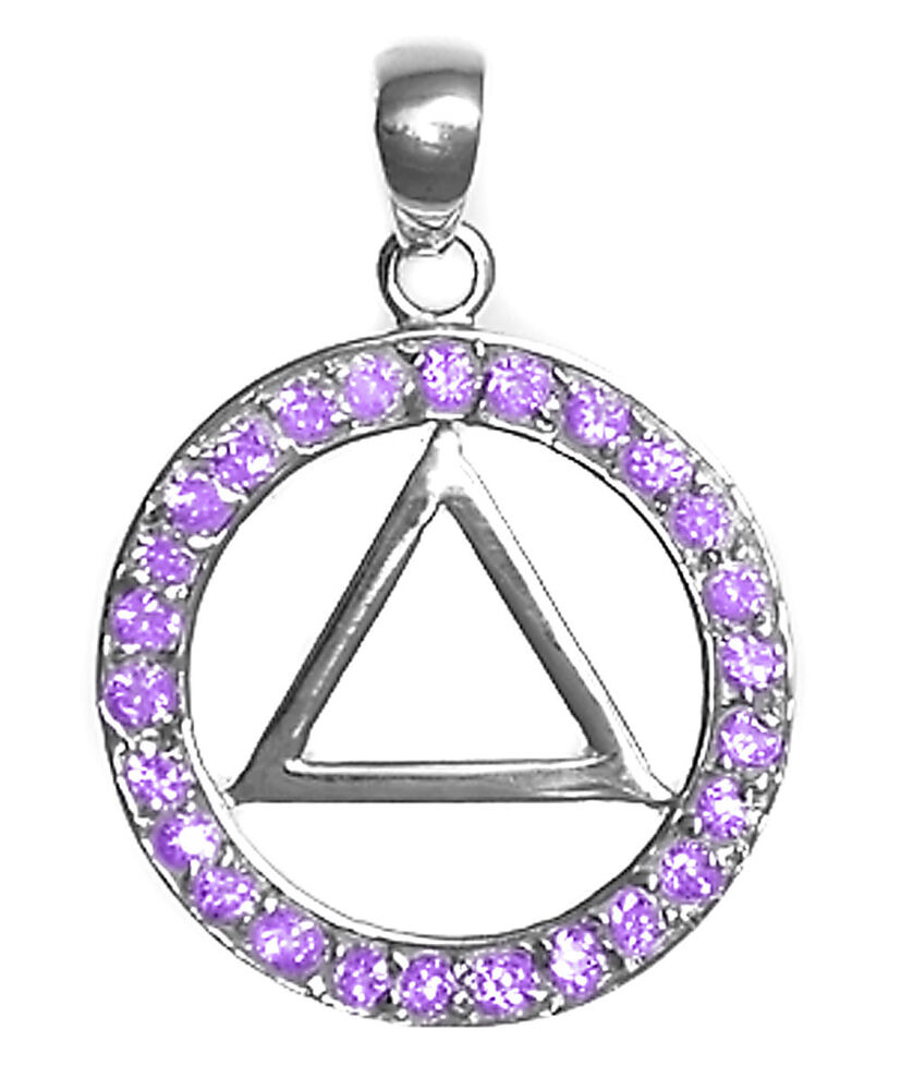 aa alcoholics anonymous jewelry pend 26cz circle with 4
