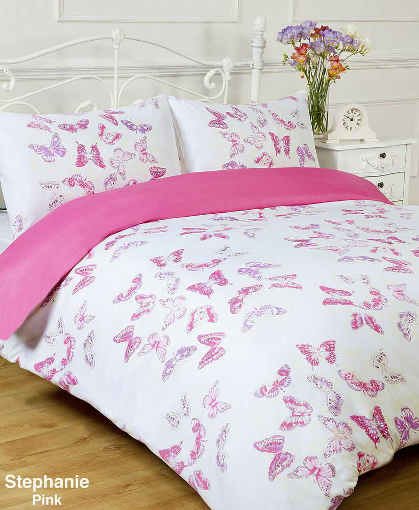 Stephanie Pink White Butterfly Double Bed Size Duvet