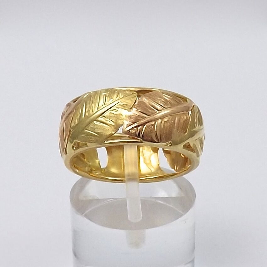VINTAGE 18K TWO TONE GOLD HAND ETCHED PIERCED PALM LEAVES