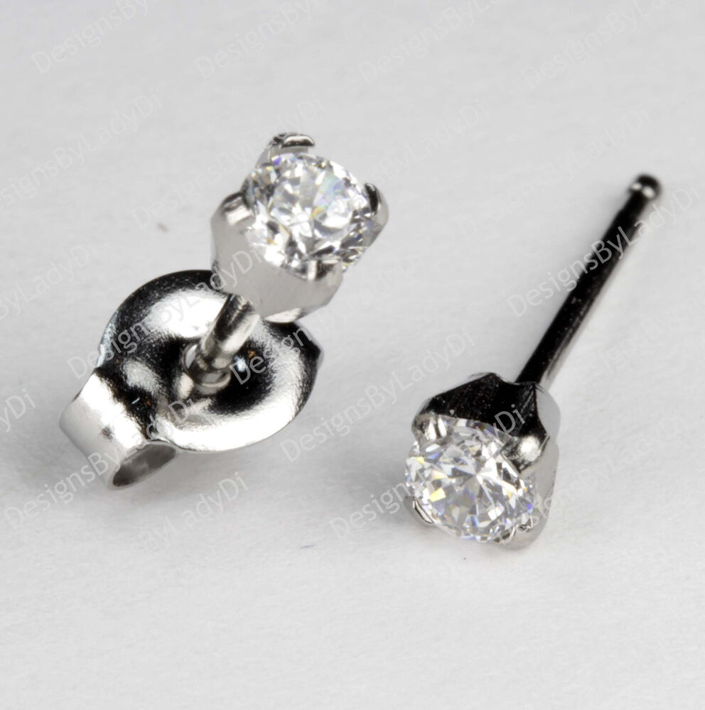 studex silver earrings tiny tips hypoallergenic 3mm clear