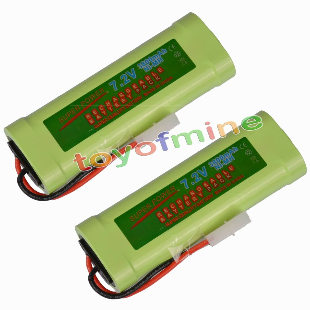 2 pcs 7 2v 3800mah ni mh rechargeable battery pack new ebay. Black Bedroom Furniture Sets. Home Design Ideas