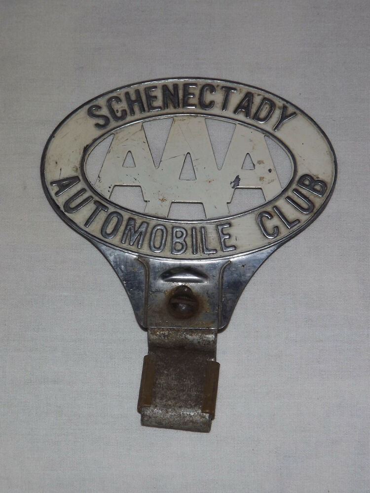 Vintage Aaa Car 1930s Schenectady Automobile Club Metal Car Badge Ebay