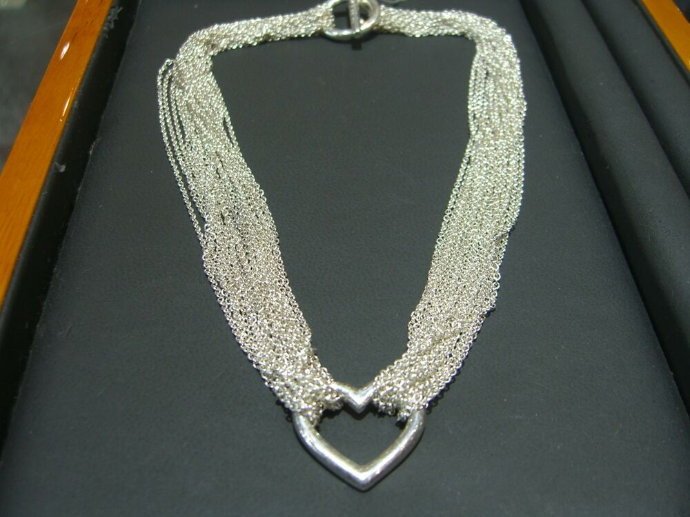 Tiffany And Co Sterling Silver 10 Chain Heart Toggle