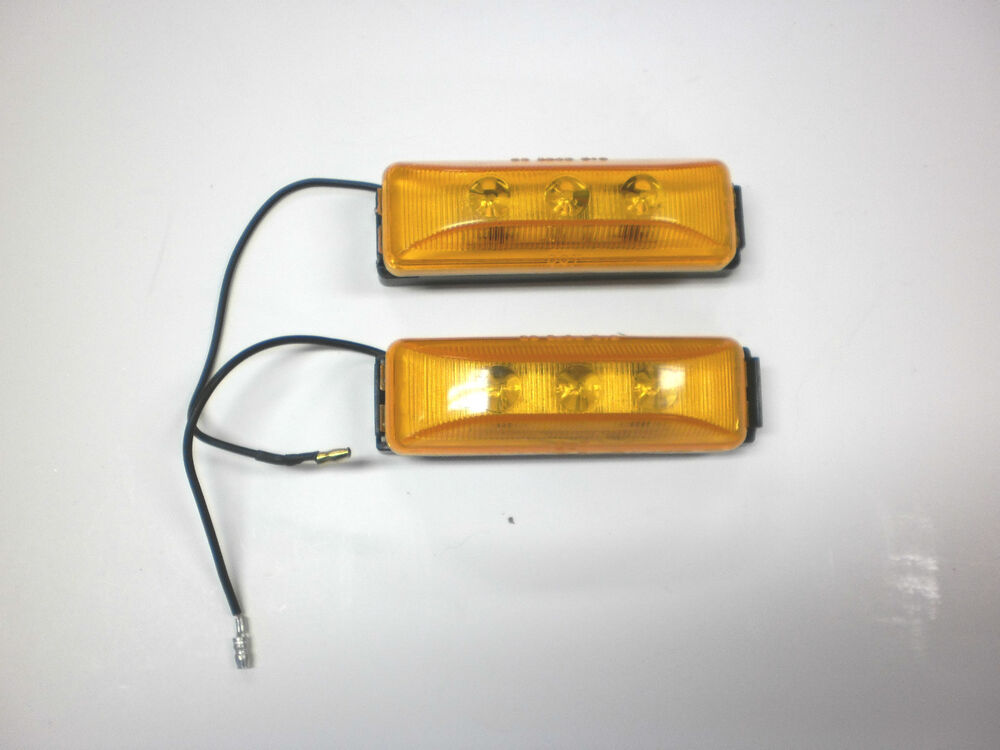 Two 1 X 4 Amber Led Clearance Side Marker Lights Utility