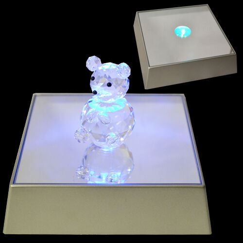 3 Led Light Display Stand Glass Crystal Figurine Mirror