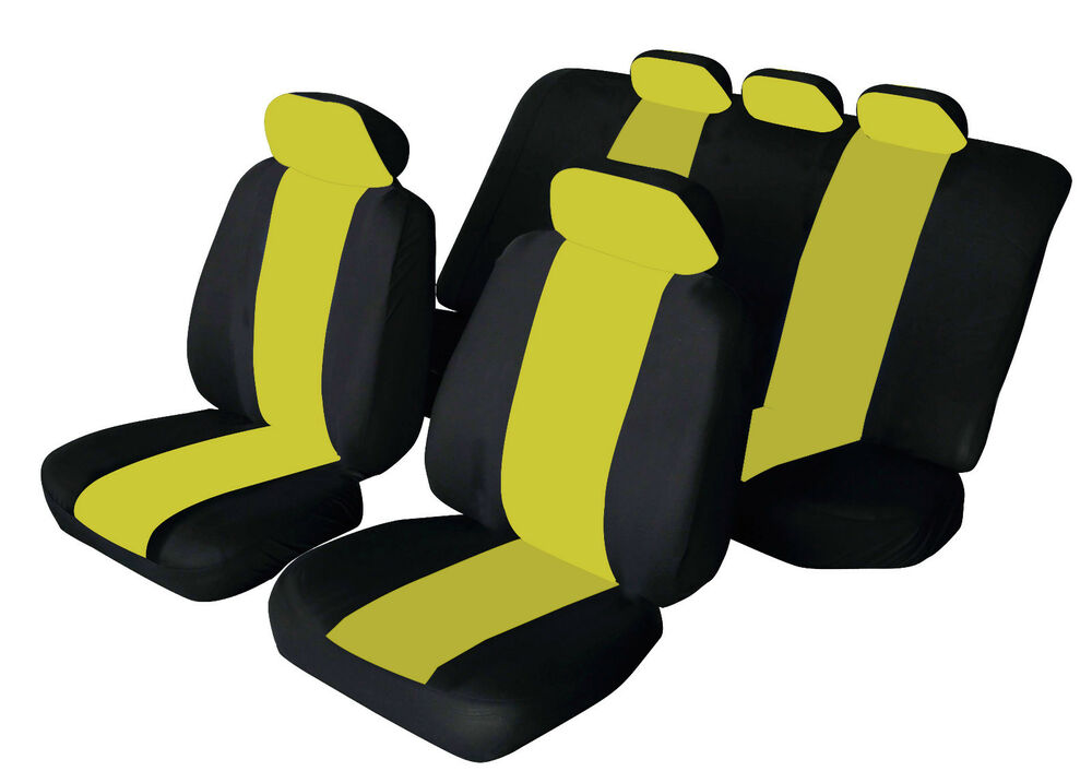 seat ibiza universal sporty fabric car seat covers black yellow ebay. Black Bedroom Furniture Sets. Home Design Ideas