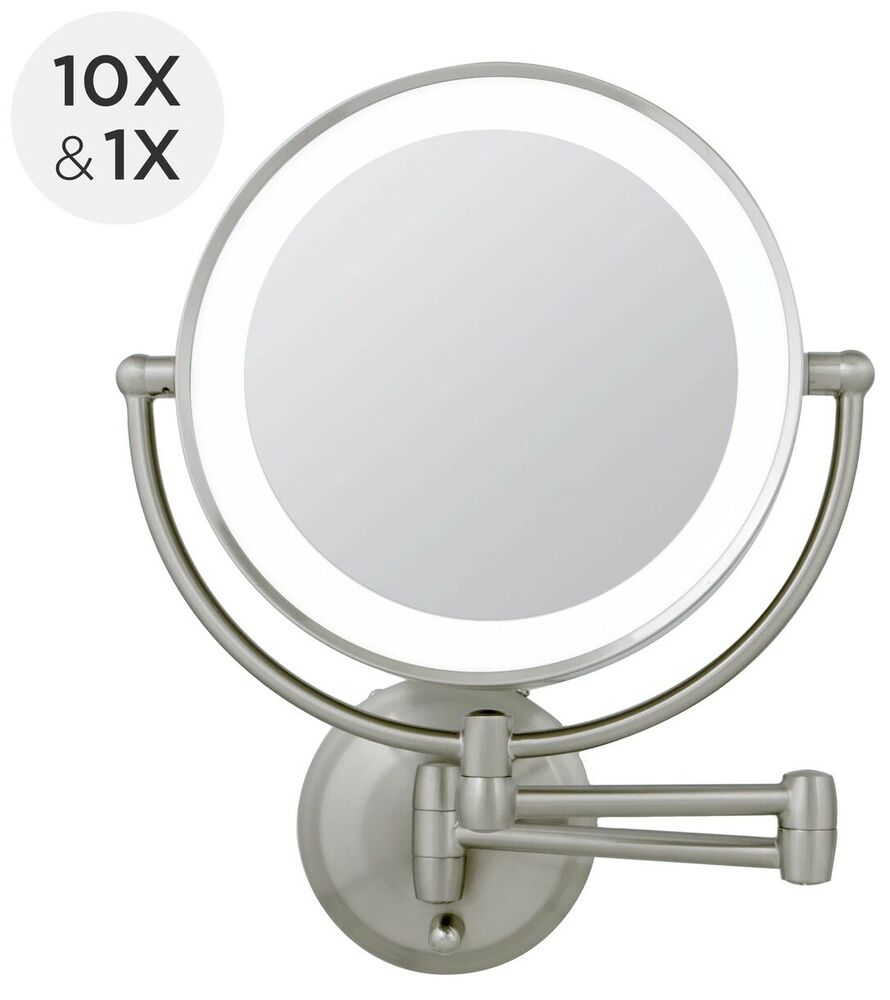 Zadro 1x 10x next gen cordless led lighted wall mount for Beauty mirror