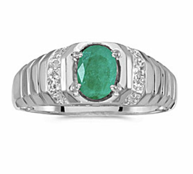 Mens Natural 7x5mm Oval Emerald and Diamond Ring 10K White Gold
