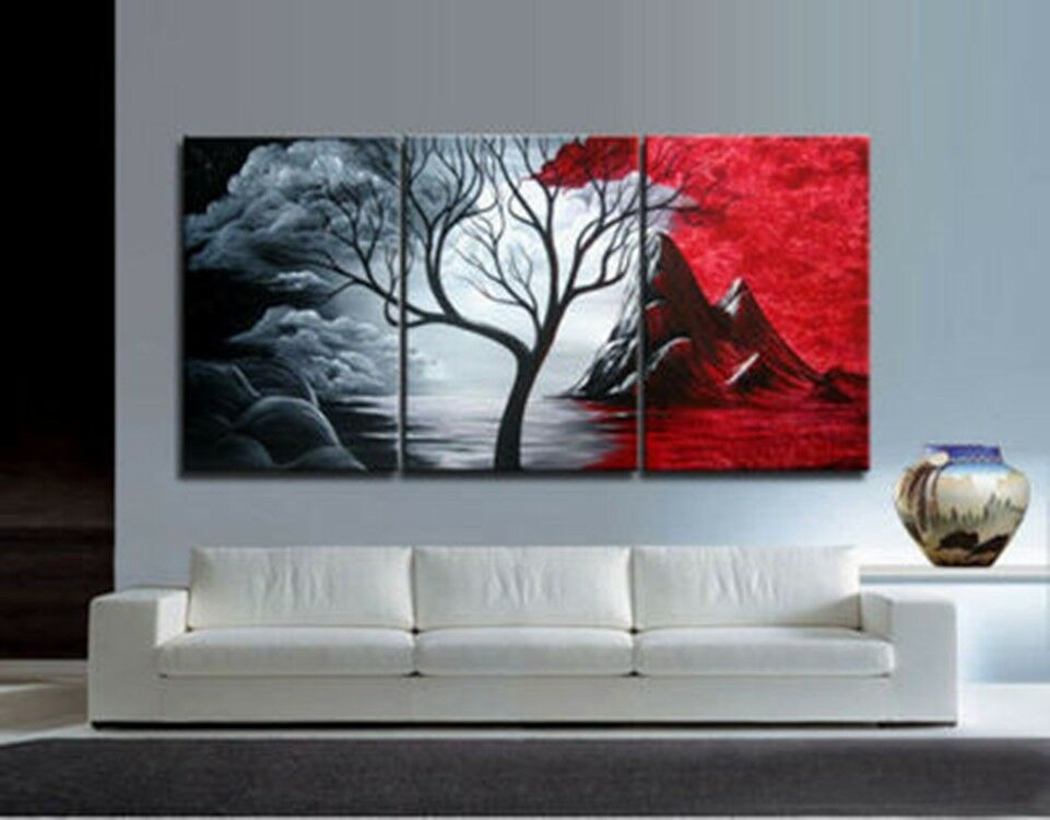 3pieces modern abstract huge wall art oil painting on for Red wall art