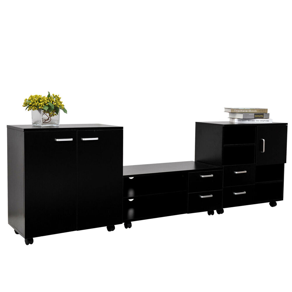 black living room cabinet living room mobile 3 pcs set tv stand cabinet unit besides 16514