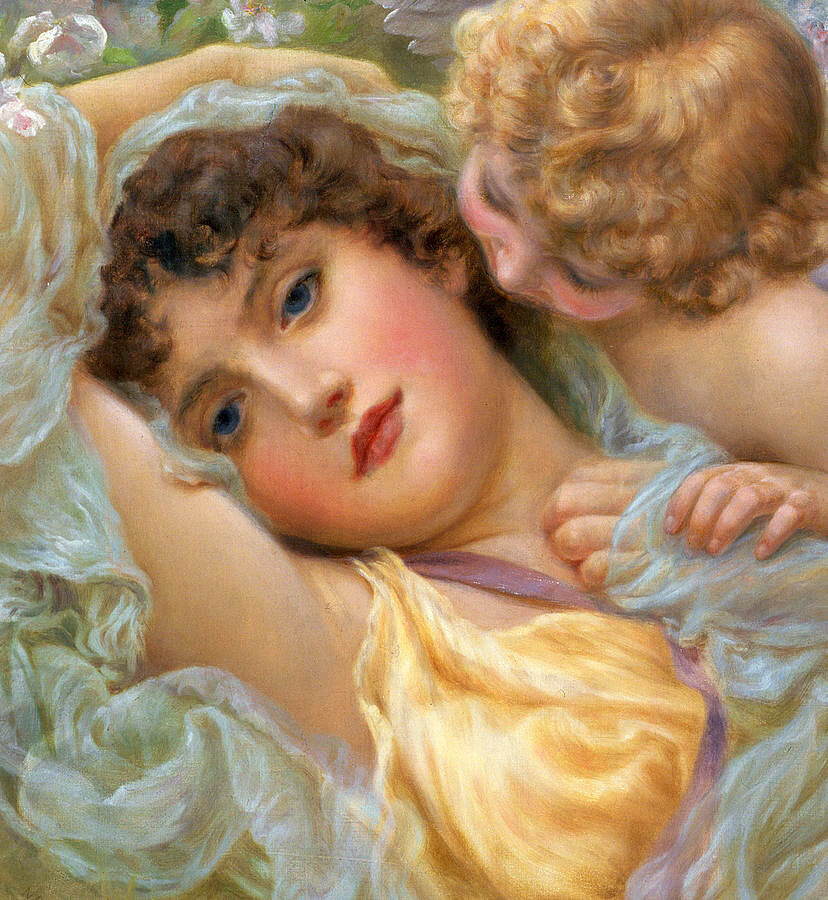 Wonderful Oil painting angel cupid with his nice mother ...