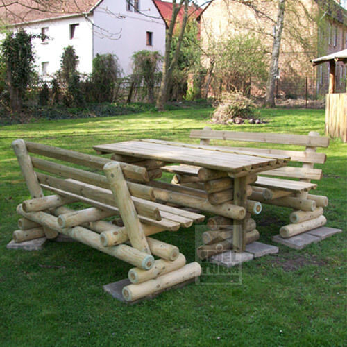 hoq massive sitzgruppe 170 rustikal biertischgarnit ur gartenm bel kiefer holz ebay. Black Bedroom Furniture Sets. Home Design Ideas