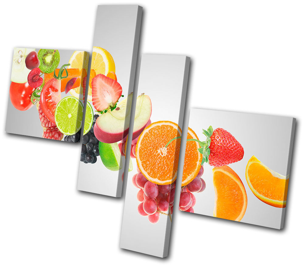Food Kitchen Fruit Juice Multi Canvas Wall Art Picture