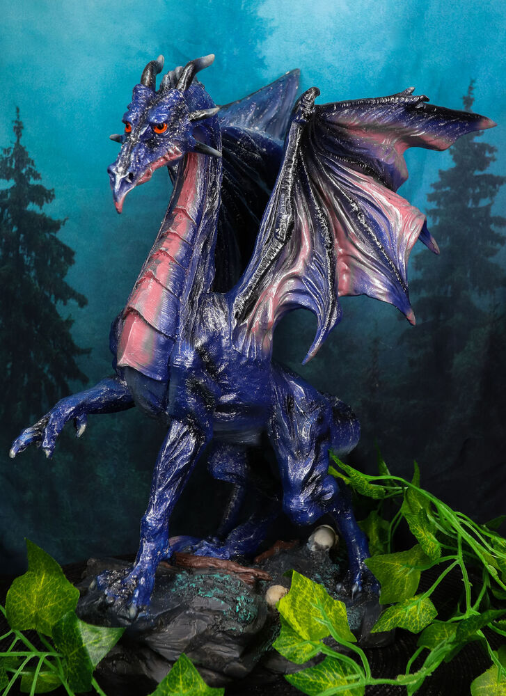 Large Mythical Fantasy Nebula Midnight Dragon Statue Home