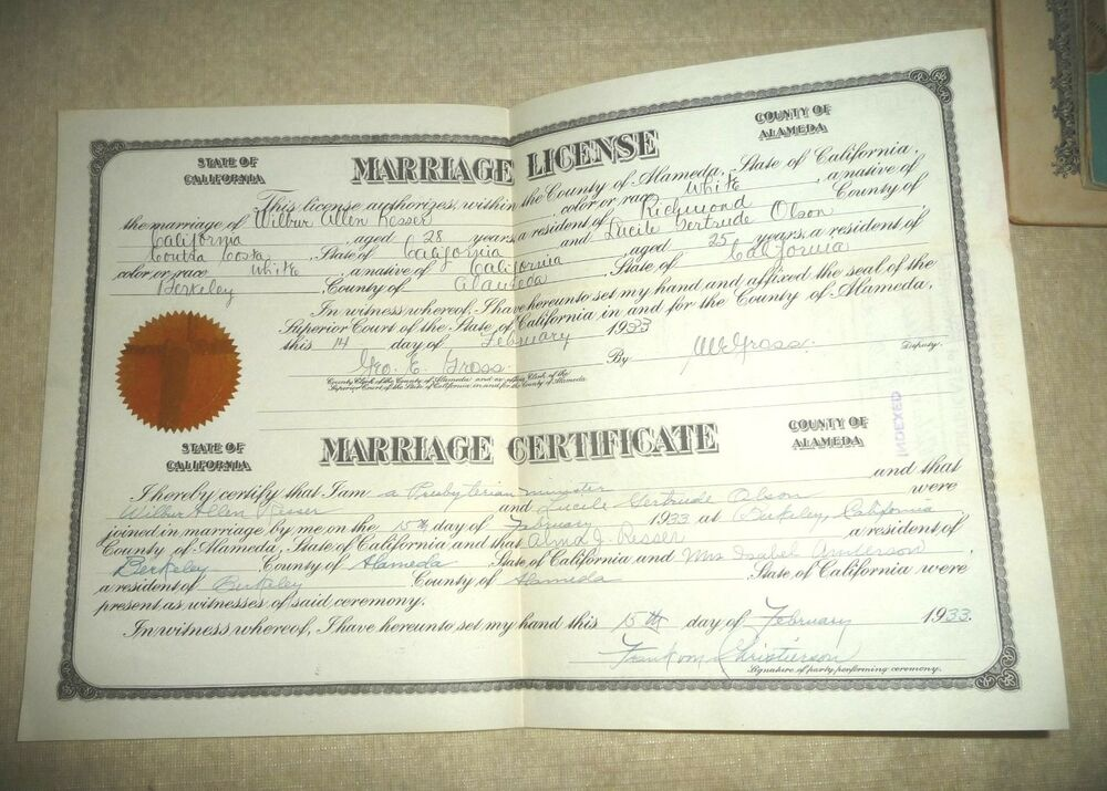 How To Get A Marriage License With Pictures: VINTAGE MARRIAGE LICENSE CERTIFICATE RICHMOND CA ALAMEDA