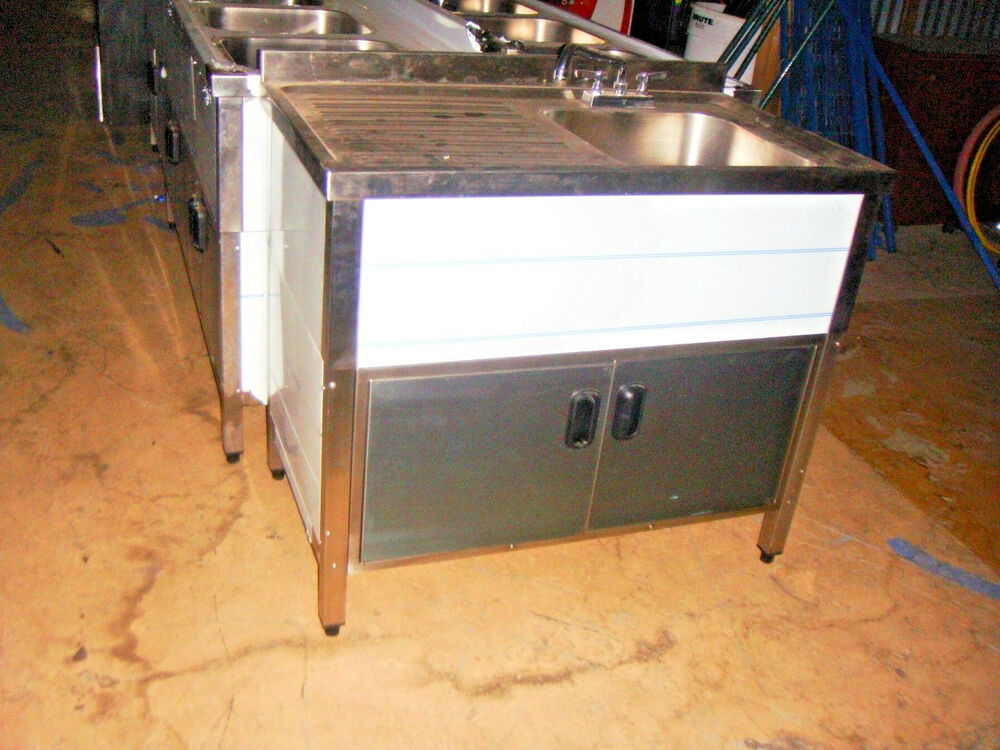Self Contained Commercial Sink With Drain Board New Ebay