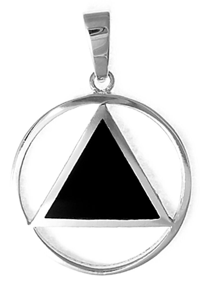aa alcoholics anonymous jewelry sterling silver black