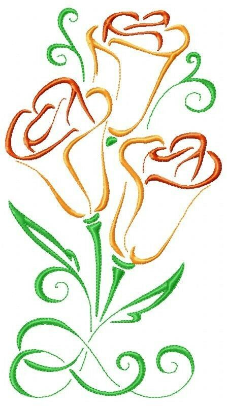 Art deco poppy machine embroidery designs on multi