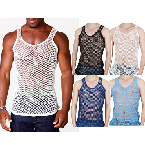 54361aadd066f MENS STRING MESH VEST FITTED 100% COTTON GYM TRAINING TANK TOP T SHIRT FISH  NET