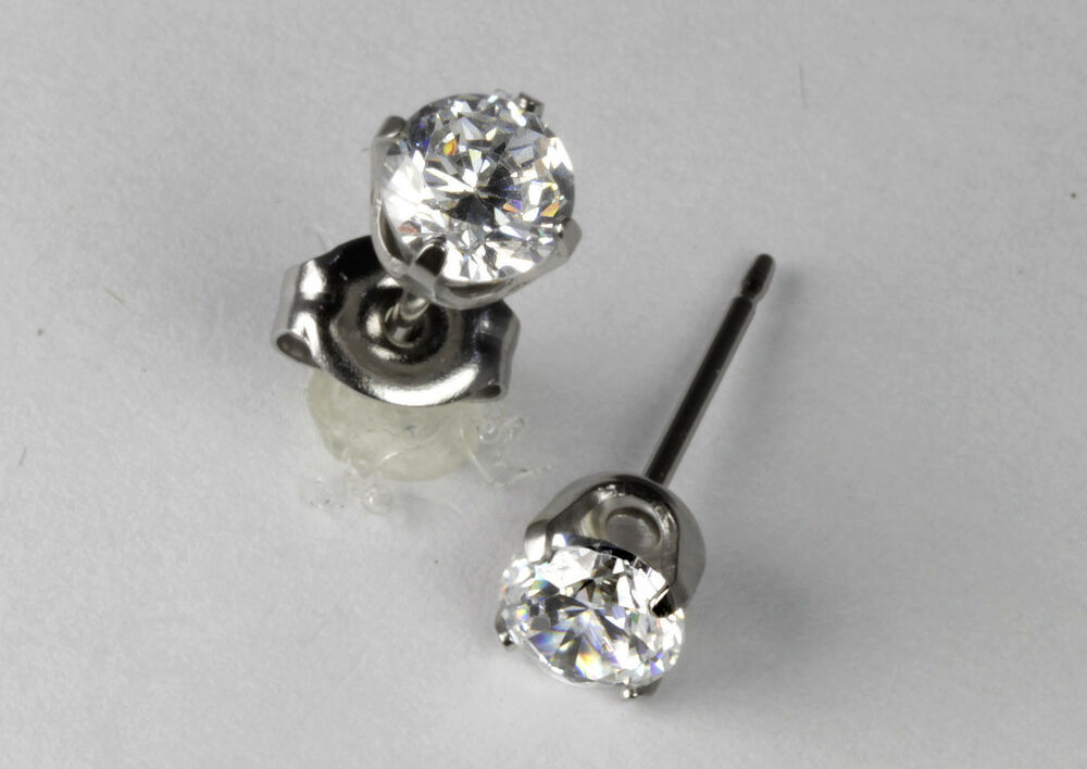 studex sensitive stainless steel 5mm clear cubic zirconia